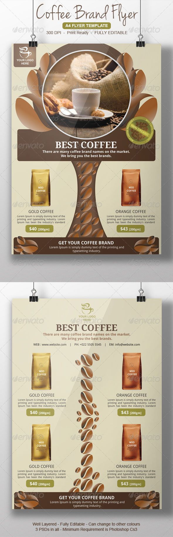 Coffee Brands Flyer Coffee Branding Coffee Shop Organic Coffee