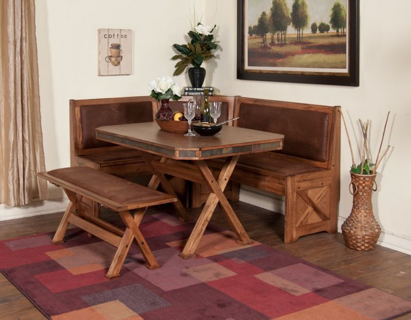 This Farm Style Dinette Features Cornered Bench Style Seating, Perfect For  Your Kitchen Nook.