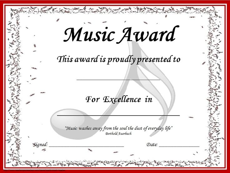 Image Result For Piano Recital Certificate Template  Music