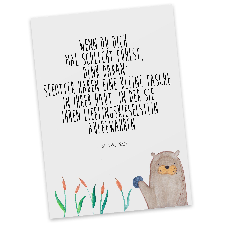 Postkarte Otter mit Stein aus Karton 300 Gramm  weiß - Das Original von Mr. & Mrs. Panda.  Diese wunderschöne Postkarte aus edlem und hochwertigem 300 Gramm Papier wurde matt glänzend bedruckt und wirkt dadurch sehr edel. Natürlich ist sie auch als Geschenkkarte oder Einladungskarte problemlos zu verwenden. Jede unserer Postkarten wird von uns per hand entworfen, gefertigt, verpackt und verschickt.    Über unser Motiv Otter mit Stein  ##MOTIVES_DESCRIPTION##    Verwendete Materialien  Es…