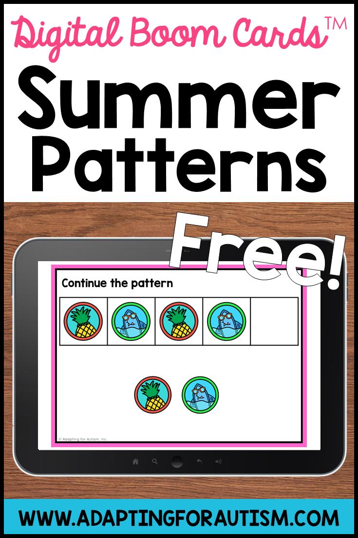 Free Summer Patterns Boom Cards Digital Task Cards Task Cards Cards [ 1102 x 735 Pixel ]