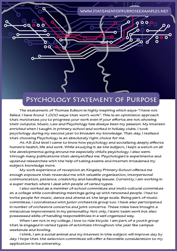 Statement Of Purpose Psychology Sample  Statement Of Purpose