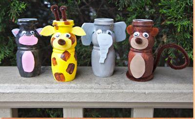 Haz Figuras De Animales Reciclando Botes De Pet Manualidades Material Reciclado Para Ninos Figuras De Animales