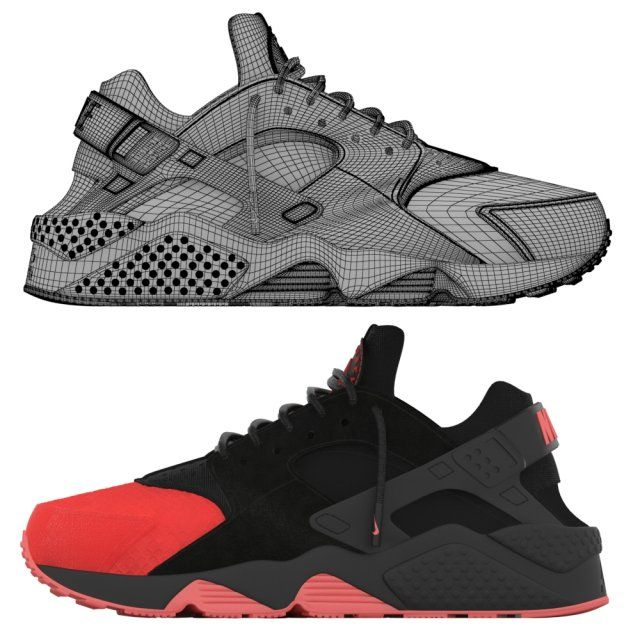 4d4a85bb186c Nike Air Huarache Custom 3D Model   Clothing .max .c4d .obj .3ds .fbx .lwo  .stl
