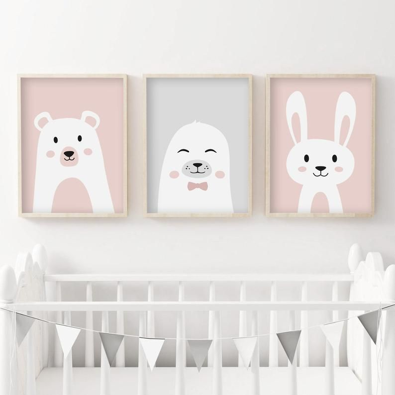 Lot 3 Posters Baby A4 A5 Bear Seal Rabbit Gift Birth Child