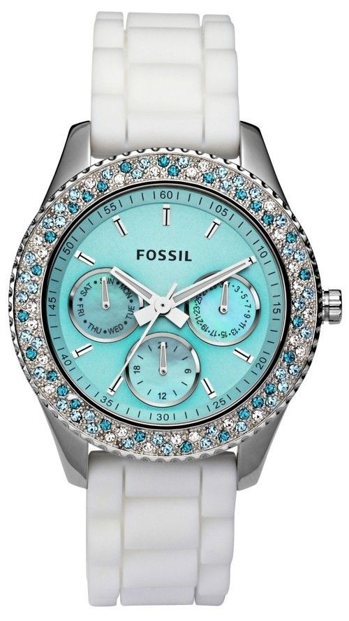 Tiffany white and blue watch from Fossil.