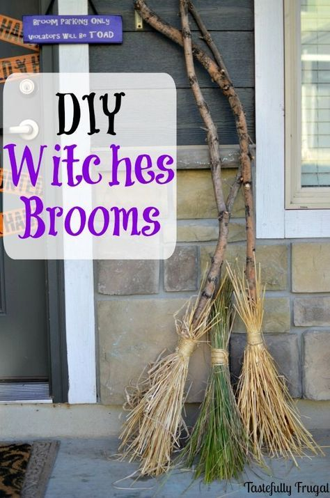 DIY Witches Brooms Make this fun Halloween decoration for FREE with - cute easy halloween decorations