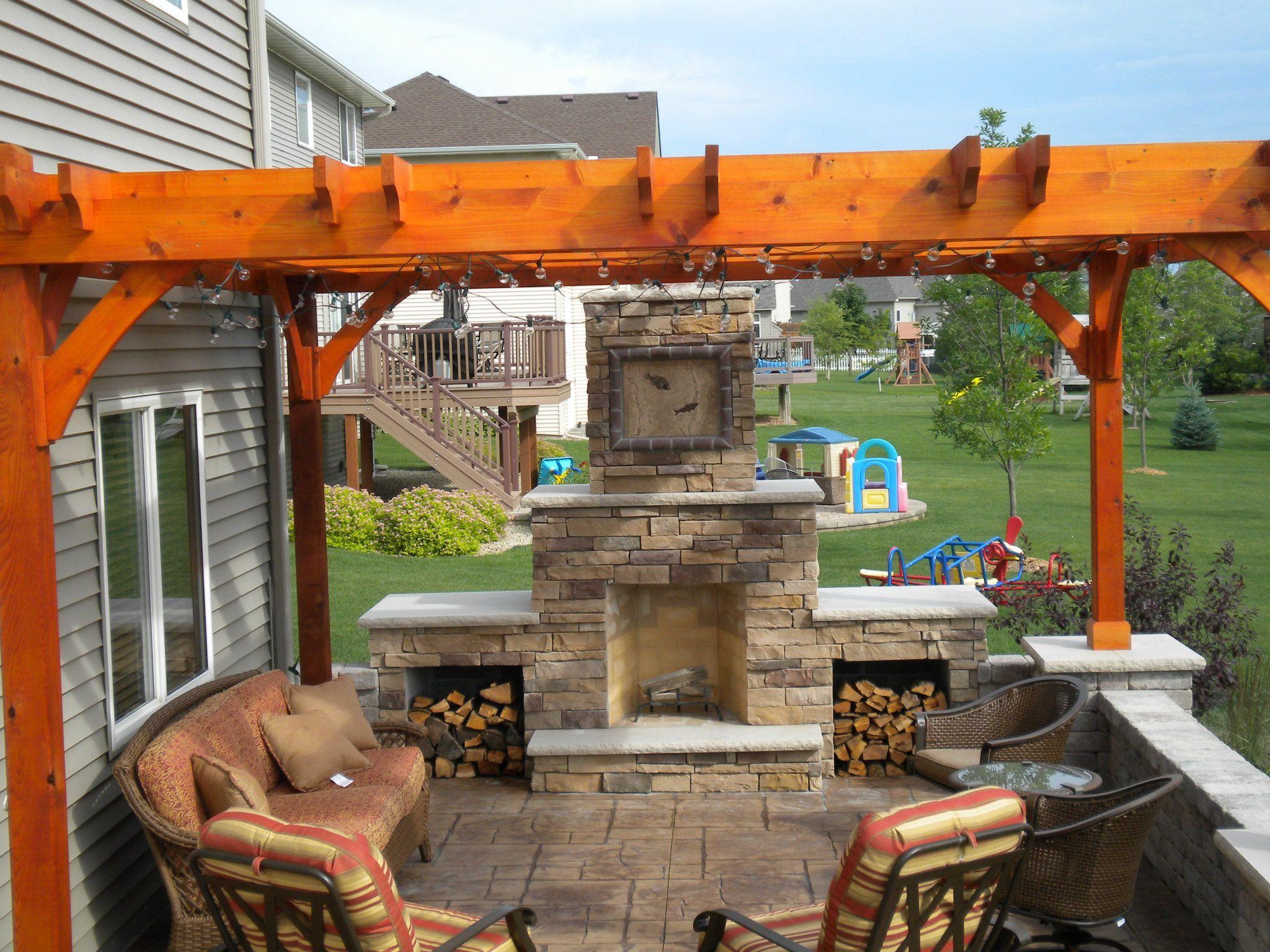 Stone outdoor fireplace with pergola pergola and trellis plans
