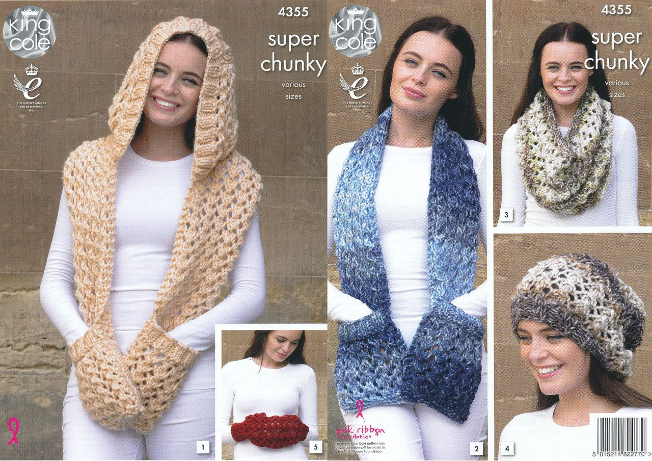 King Cole Chunky Knitting Pattern - Ladies Winter Accessories (4355 ...