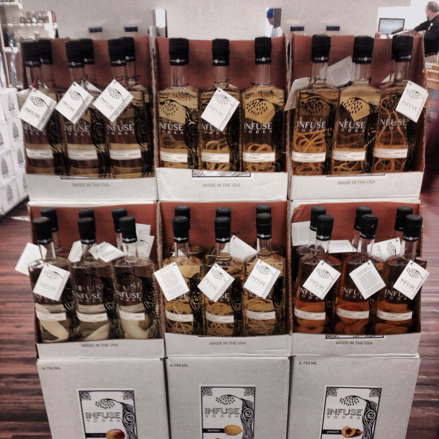 Infuse Vodka at Goody Goody, TX. Floor stacked, of course.