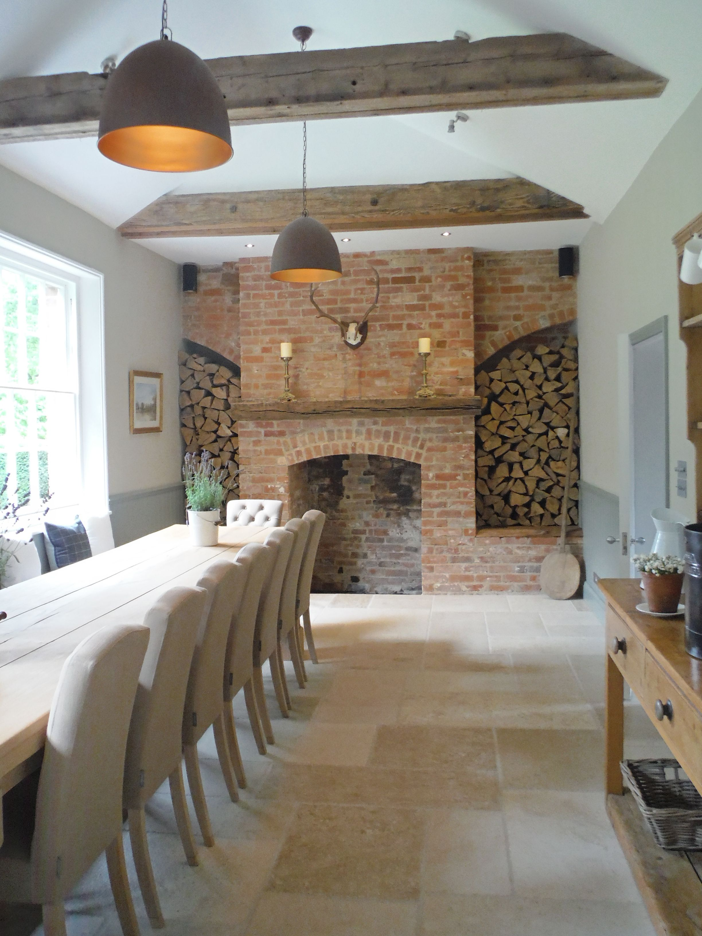 Christmas calls for  festive fireplace this cosy family home features an internal brick wall also contemporary design in oxford stylish modern rh pinterest