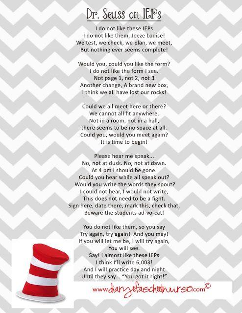 Diary Of A School Nurse Dr Seuss   Free Printable Poem