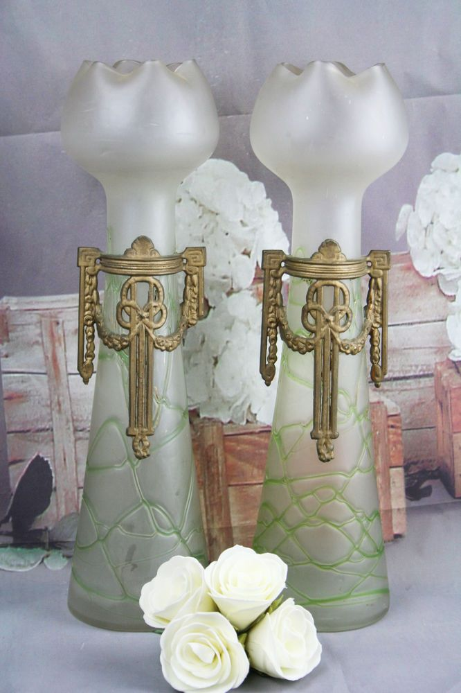 Rare Art nouveau Tall Loetz PALLME Konig Pair of glass vases with ornament