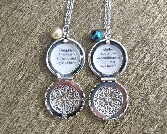 Mother Daughter Necklace Set Quote Locket Silver Filigree ...
