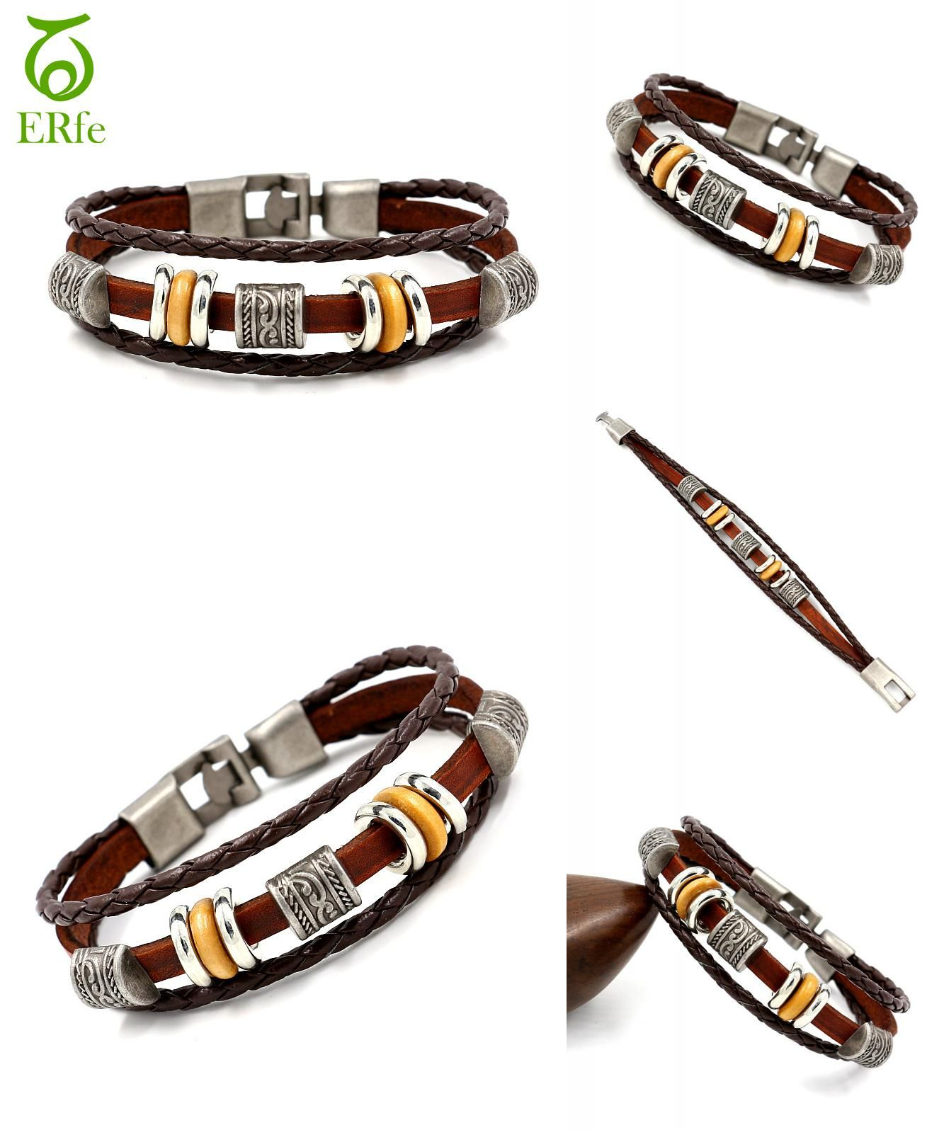 Visit to buy er brown genuine leather bracelet women vintage beads