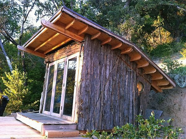 Rustikale Holzhutte Gartenhaus Unbehandeltes Holz Selbst Gebaut