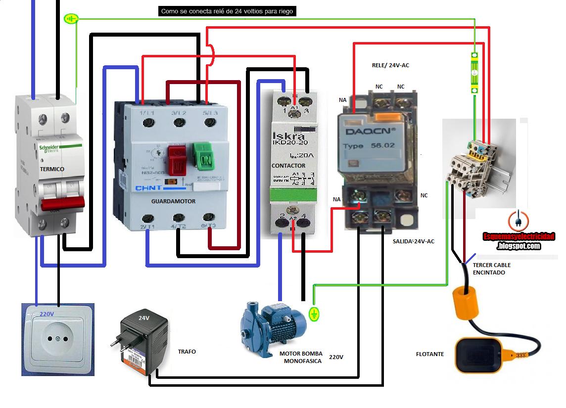Esquemas eléctricos: COMO CONECTAR RELE DE 24VOLTIOS PARA RIEGO