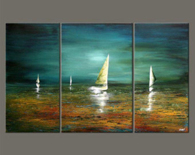 Velero pintura paisaje marino abstracto original pintura for Pintura verde turquesa