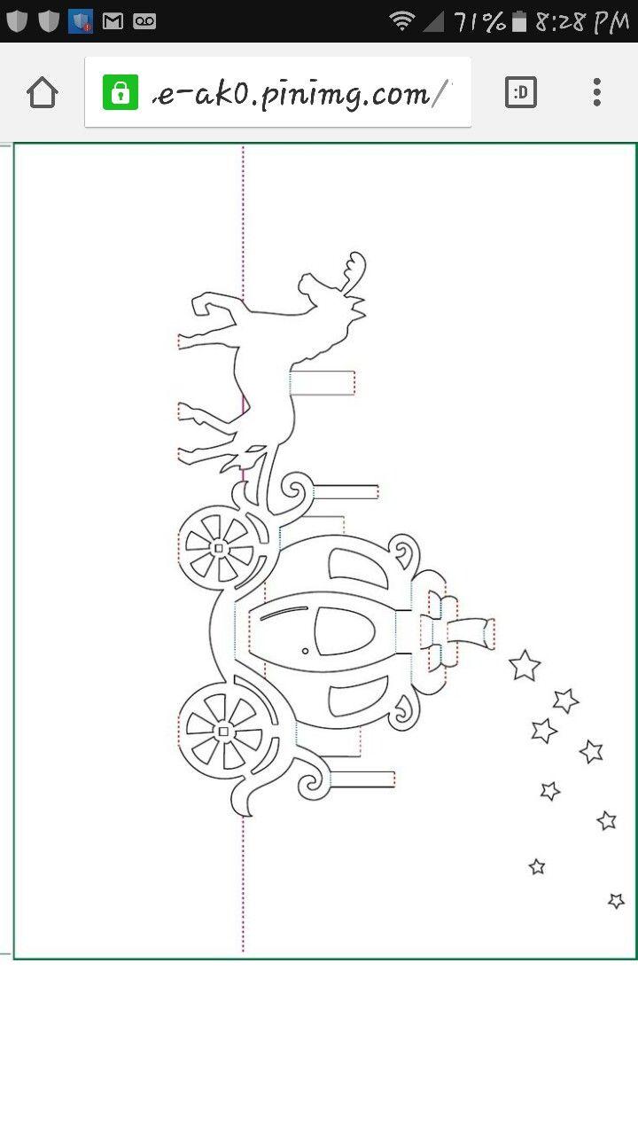 Cinderella Carriage Pop Up Card Template Pop Up Card Templates Kirigami Patterns Kirigami Templates