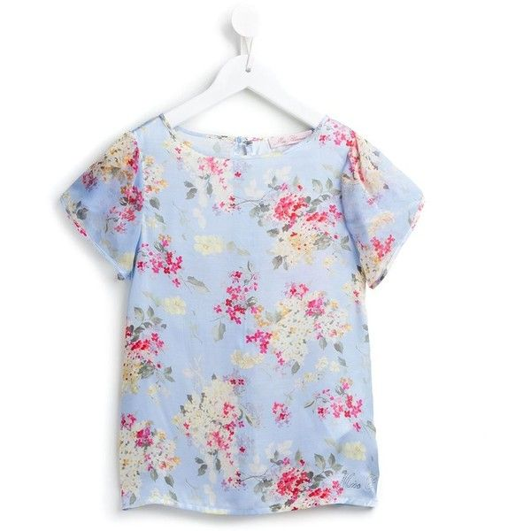 Miss Blumarine Floral Print Top (9.465 RUB) ❤ liked on Polyvore featuring tops, blue, blumarine, floral silk top, short sleeve ruffle top, blue floral top and blue short sleeve top