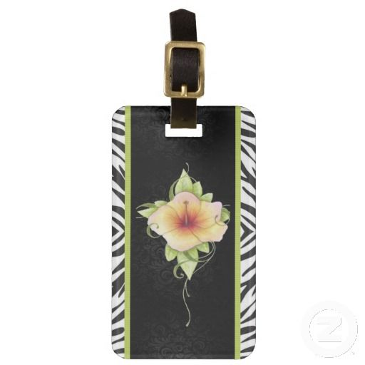 Forbidden Encounters Luggage Tag-This design expresses a hint of the wild side with the zebra pint borders which frame the elegant black damask and hand drawn pastel flower.