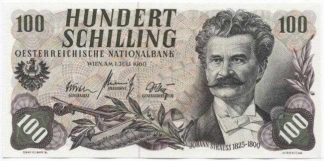 100 Schilling 1960 Strauss österreich Zweite Republik Banknoten