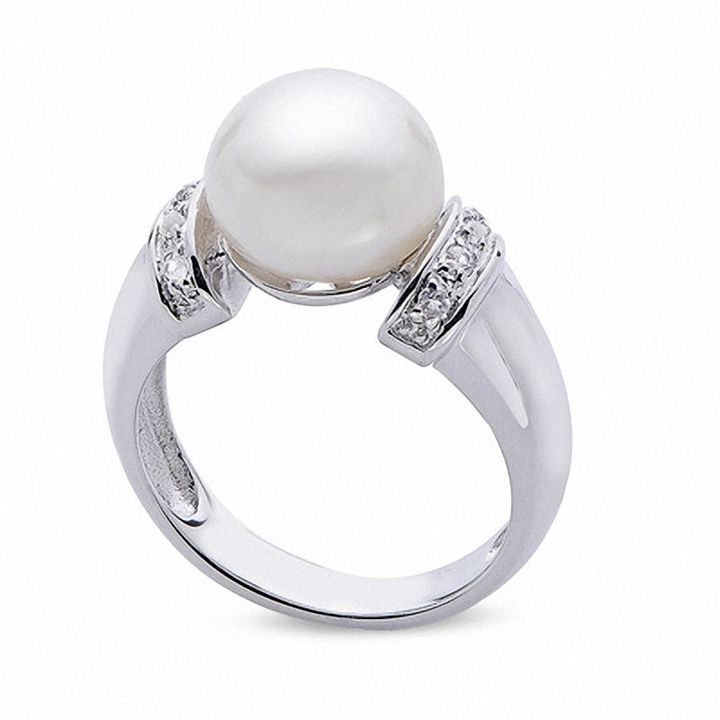 Zales 10.0-10.5mm Cultured Freshwater Pearl Ring in Sterling Silver with White Topaz Accents 5IOKtA