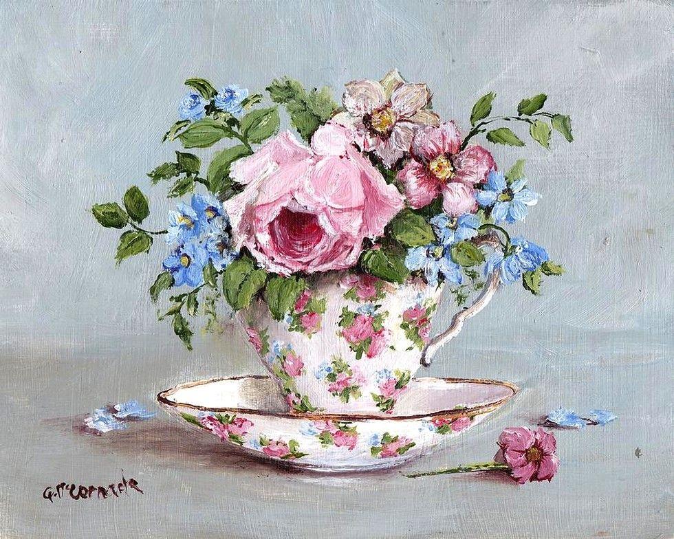 Gail Mccormack Blooms In A Tea Cup 2012 980x784 Imagens Vintage Xicaras Desenho Decupagem