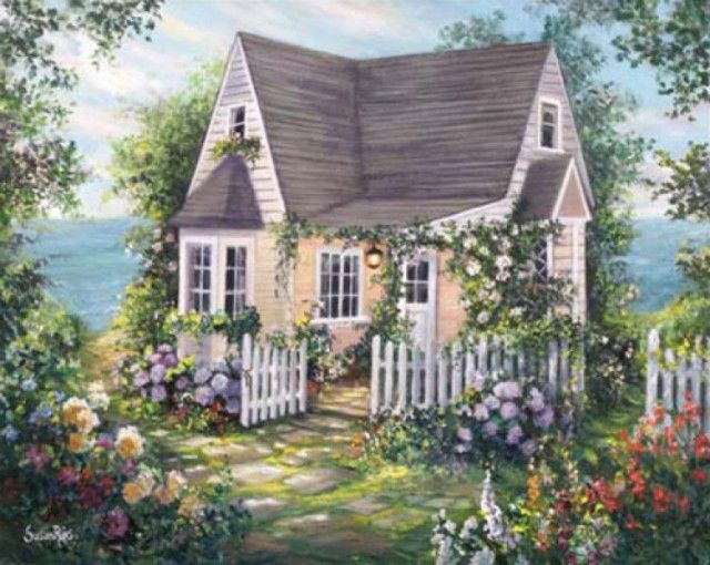 Love this little cottage wrapped in pretty flowers.
