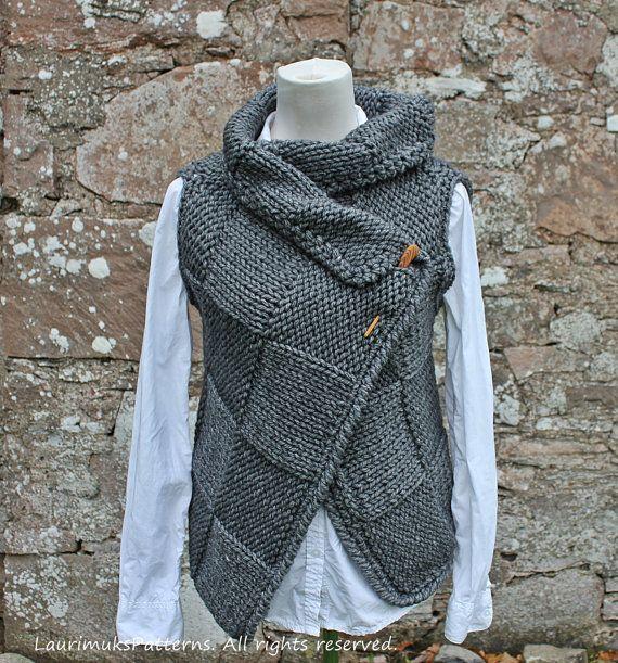 Photo of Knitting PATTERN-Big square wrap, womens sleeveless jacket pattern, cardigan pattern  – Listing131
