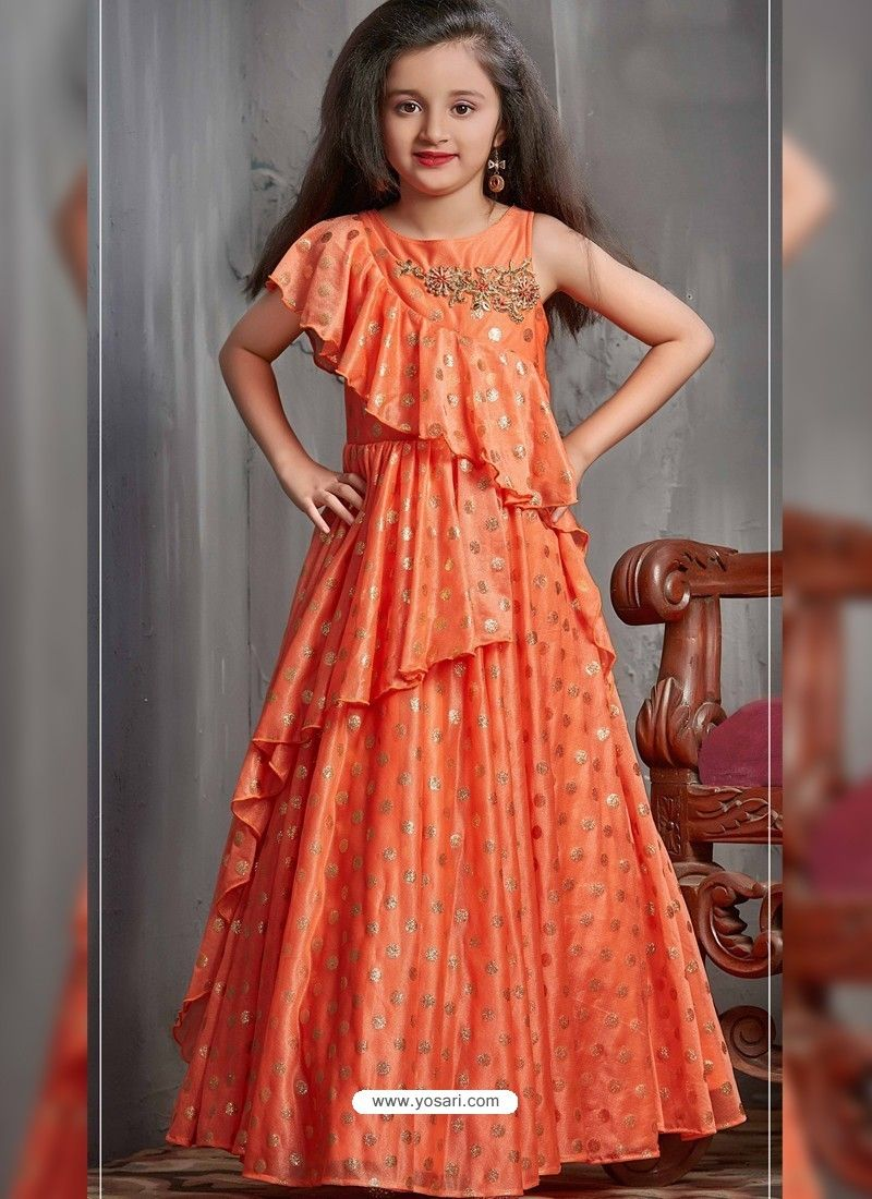 e05aa84cabd Groovy Orange Party Wear Gown for Girls in 2019