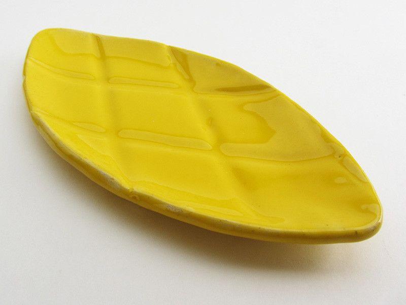 "Diamond-shaped Ceramic Dish / Plate. ""Pineapple"" series 2016 (white clay, sunny yellow glaze). New Ceramic Design by Pottery Studio Saskia Lauth / France. www.saskia-lauth.com"
