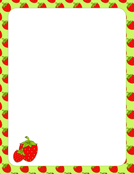 Strawberry border clip art with a green background. Free ...