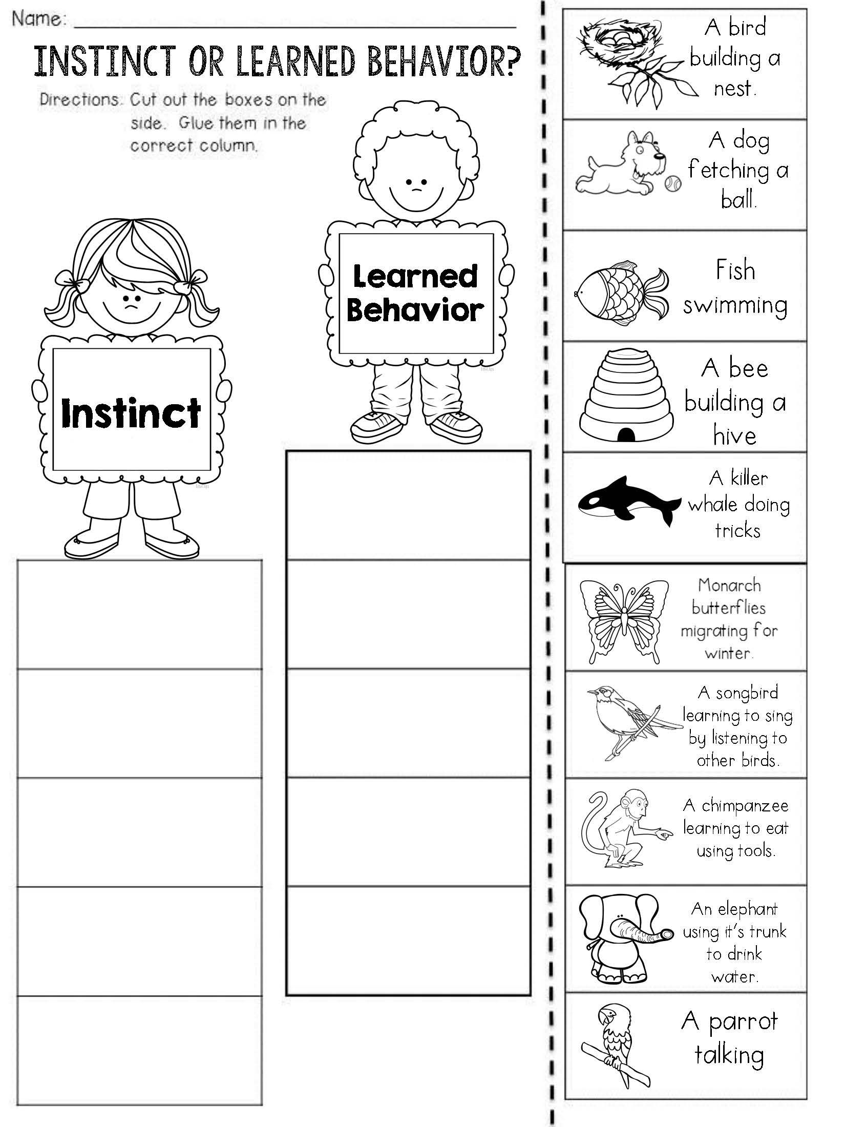 Instincts And Learned Behaviors Cut And Paste Sorting Activity