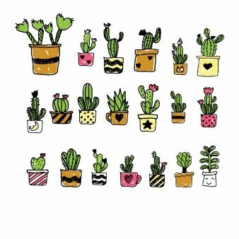 Hand painted cartoon cactus collection