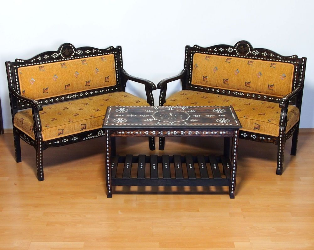 antik orient osmanische sitzgruppe sessel tisch einlegearbeit islamic furniture antike m bel. Black Bedroom Furniture Sets. Home Design Ideas