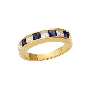 Bague Alliance Anneau Oxyde de Zirconium Blanc   Bleu Plaqué Or 750 SO CHIC  BIJOUX - 83297137dedd
