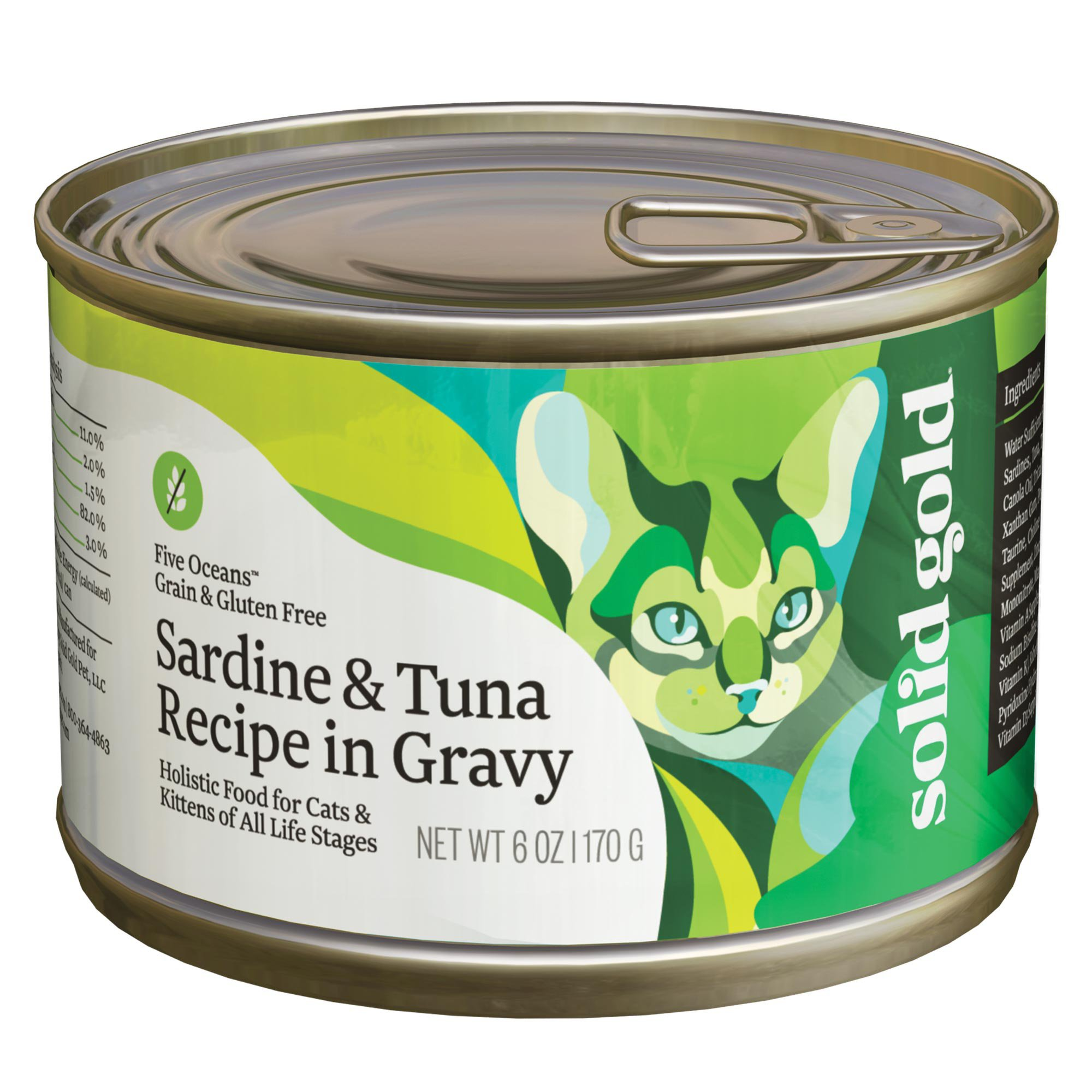 Solid Gold Five Oceans Sardine Tuna In Gravy Holistic Grain Free Canned Cat Food For All Life Stages 6 Oz Case Of 8 Canned Cat Food Cat Food Wet Cat Food