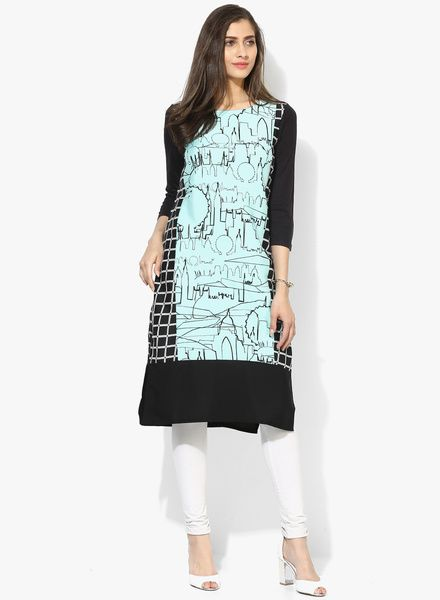 34a76726aa9 Buy W Aqua Blue Printed Kurta for Women Online India