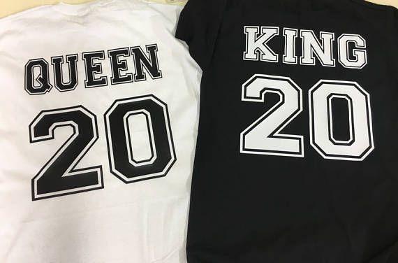 descubre las últimas tendencias calidad de marca muy elogiado King Queen tshirt personalized, Valentine's gift, King and ...