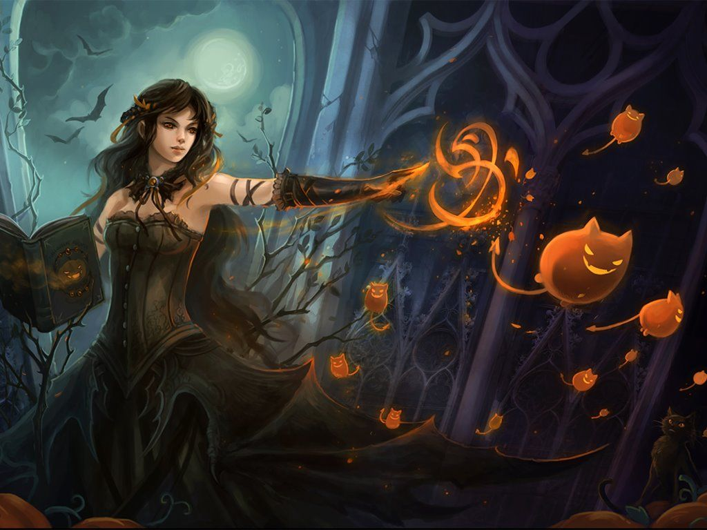 My Free Wallpapers Fantasy Wallpaper Halloween Witch | Screen ...