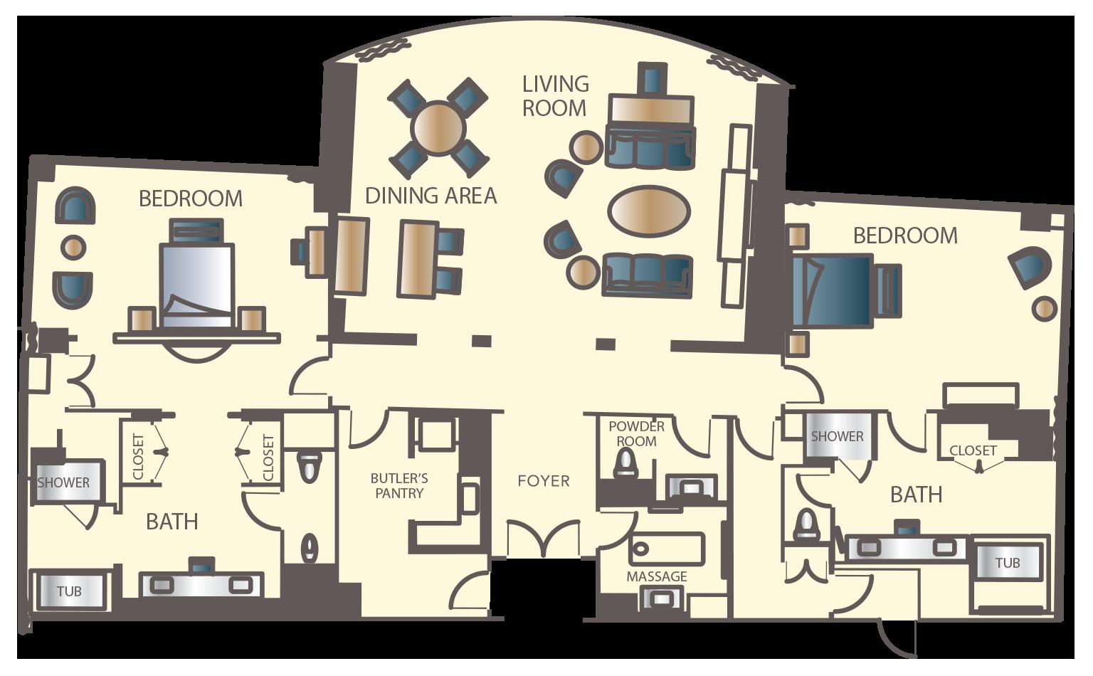 Encore Two Bedroom Apartment Floorplan Two Bedroom Apartments Las Vegas Resorts Hotels Room