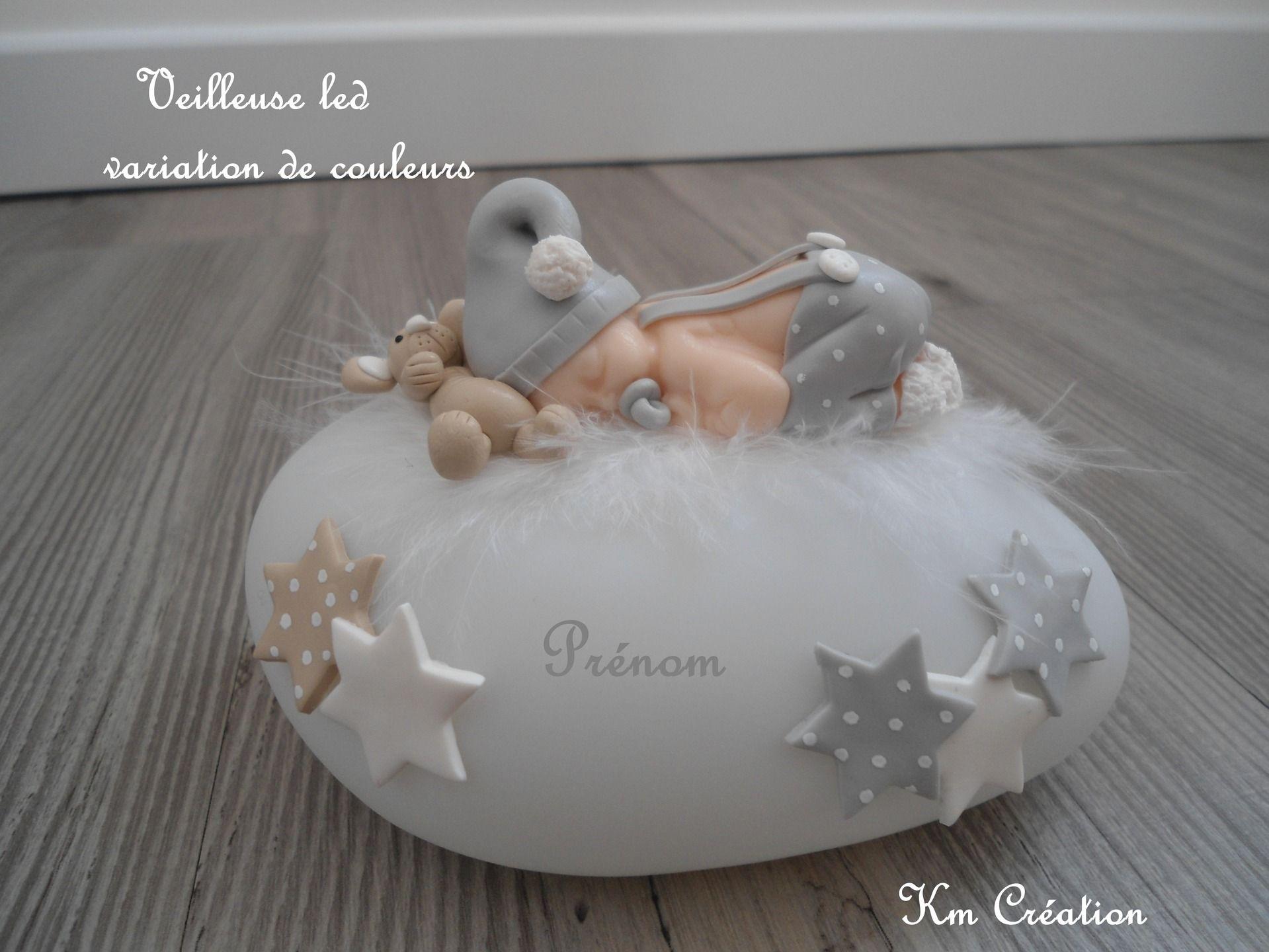 df4929cedb4b Veilleuse led ,bébé en fimo et son doudou   Décoration pour enfants ...