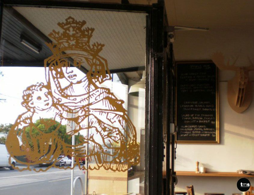 Pope joan gold window decal menu board cafe signage