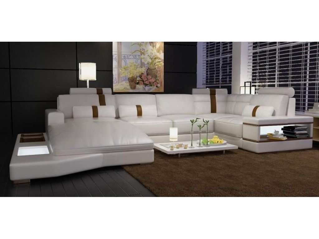 Modern White Bonded Leather Sectional Sofa with Built-in ...