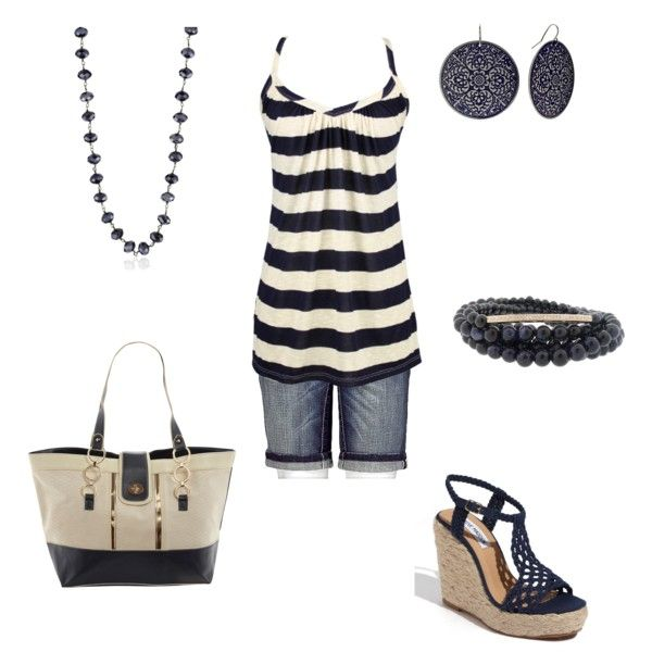 "Simple cute outfit for a day at the play ground.   ""Blue & Cream - Summer"" by jklmnodavis on Polyvore"