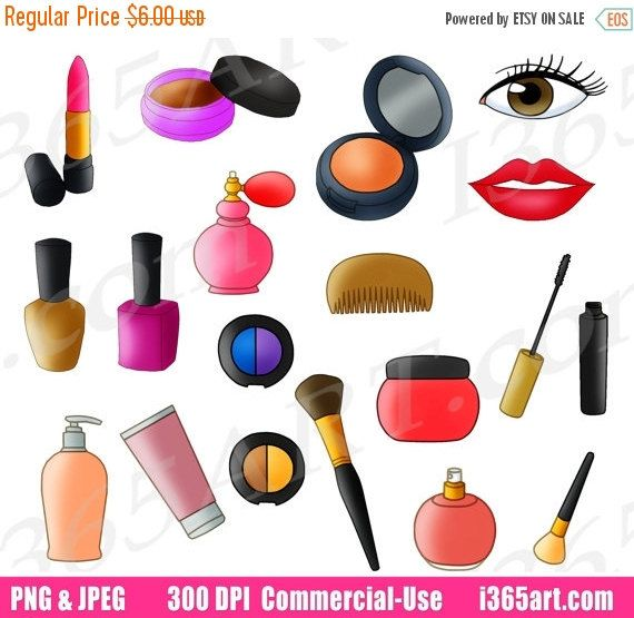 50 OFF SALE Beauty Parlor Clipart Makeup Set Clip Art Cosmetics