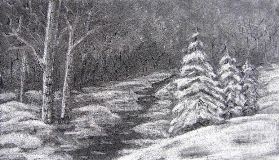 winter scene drawing by patricia januszkiewicz woodland nature