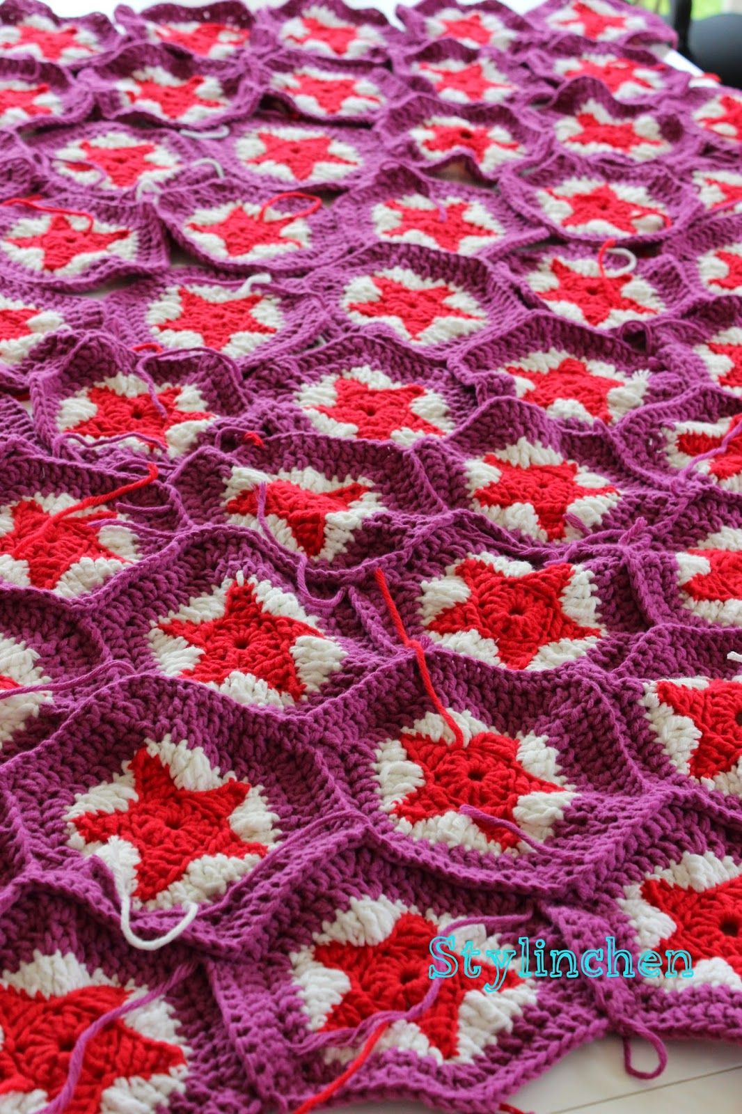 Stylinchen: Projekt: Sternendecke häkeln   Crocheting: sternendecke ...