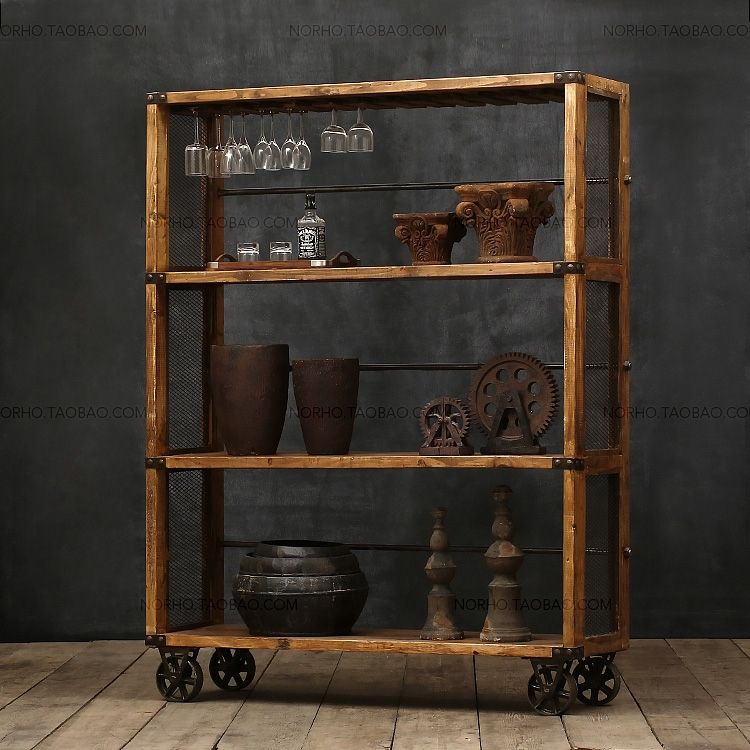 American Country / Wood Cabinets Creative / Recycled Wood / Sideboard /  Wine Cabinet / Locker